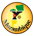 orange button with the image maps of Mozambique vector image vector image