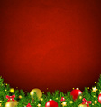 Red Christmas Poster With Bokeh vector image vector image