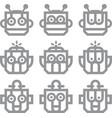 robot head silver technology icon symbol vector image
