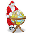 santa claus globe vector image vector image