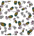 Seamless pattern with hand-drawn insects vector image