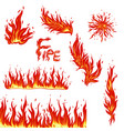 set fire items isolated on a white background vector image