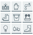 set of 9 garden icons includes spigot agrimotor vector image vector image
