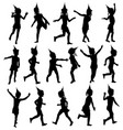 set silhouettes of children happy birthday vector image