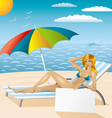 sexy woman in bikini on the beach with epmty board vector image vector image