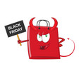 shopping evil bag cartoon character mascot vector image vector image