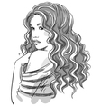 sketch a beautiful girl with curly hair vector image vector image
