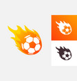 soccer ball in fire flame football fireball vector image