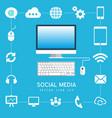 social media computer internet business technology vector image vector image