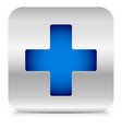 stylish blue cross in metallic square vector image
