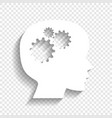 thinking head sign white icon with soft vector image vector image