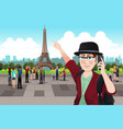 tourist taking picture near eiffel tower vector image
