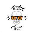 trick or treat lettering with skull for halloween vector image