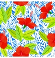 Tropical vintage pattern with red hibiscus flowers vector image
