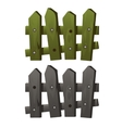 Two fragments wooden fence green and grey colors vector image vector image