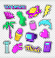 vaporwave teenager style doodle neon stickers vector image vector image