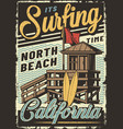 vintage colorful surfing sport poster vector image