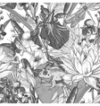 Vintage monochrome pond water flowers vector image