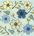 yellow and blue floral repeat print pattern in vector image vector image