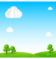 Nature background Cloud sky field tree and polygon vector image