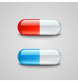 Photorealistic blue and red pills vector image