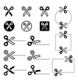 Scissors with cut lines icons set vector image