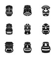 african face icons set simple style vector image vector image