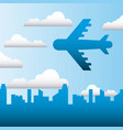 airplane flying in the city sky family protection vector image vector image