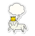cartoon cat wearing crown and thought bubble as a vector image vector image