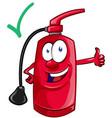 cartoon mascot fire extinguisher vector image vector image
