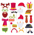 christmas photo booth santa mask hat snowman new vector image vector image