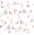 cute cartoon bird couple seamless pattern vector image vector image