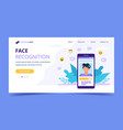 face recognition technology landing page big vector image vector image