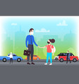 father taking daughter to school family wearing vector image vector image