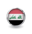 flag of iraq button with metal frame and shadow vector image vector image