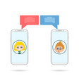 friend phones chating vector image vector image