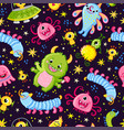 funny pattern with aliens on a dark background vector image