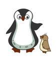 grown parent penguine scolds little baby for vector image vector image