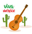 guitar and cactus mexican culture vector image vector image