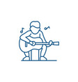 guitar player line icon concept guitar player vector image vector image