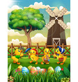 happy easter background farm with a bunch cute duc vector image vector image