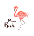 happy mothers day card mama bird text pink vector image vector image