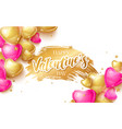 happy saint valentines day greeting card with 3d vector image