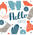 hello winter colorful greeting card or print desi vector image