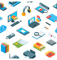 isometric online education icons pattern vector image vector image