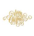merry christmas golden handwriting script vector image