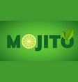 mojito drink cocktail splash lemon juice vector image vector image