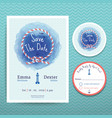 Nautical rope water colour wedding invitation vector image vector image