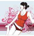 party girl with headphones vector image vector image
