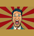 pop art man screams in horror panic face vector image vector image